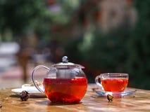 Um chá do fruto do verão com morangos frescas e o corinto natural em um fundo natural Café da manhã saõ e orgânico Foto de Stock