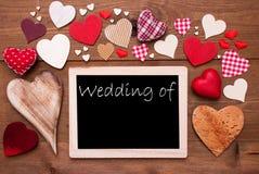 Um Chalkbord, muitos corações vermelhos, casamento de fotografia de stock