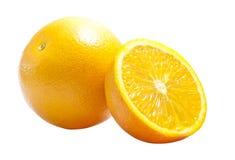 Um cheio & parcialmente uma laranja foto de stock