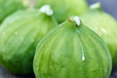 Um close-up de um grupo de figos verdes vibrantes recentemente escolhidos foto de stock