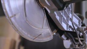 Um close-up de uma circular considerou em uma serração vídeos de arquivo