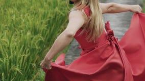 Um close-up, quadro colhido é um lento-movimento disparado como a tela de seda de uma saia vermelha longa torna-se A menina guard video estoque
