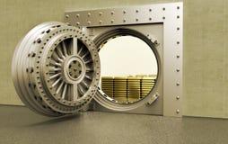 Um cofre-forte de banco com barras de ouro para dentro ilustração stock