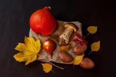 Um cogumelo e vegetais Fotografia de Stock