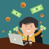Um comércio bem sucedido na bolsa de valores Corretor dos desenhos animados no Imagem de Stock