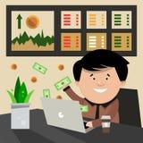 Um comércio bem sucedido na bolsa de valores A monitoração do indi Imagens de Stock Royalty Free