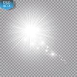 Um cometa brilhante com a grande estrela de queda da poeira Efeito da luz do fulgor Luzes brancas ilustração do vetor