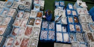 Um comprador que verifica a qualidade e o tamanho da espécie no mercado de peixes Imagens de Stock