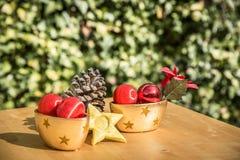 Um cone do pinho e outros objetos do Natal Fotografia de Stock Royalty Free