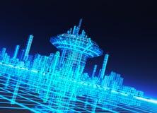 Um contexto de néon do efeito da grade com cidade Imagens de Stock Royalty Free