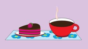 Um copo com uma bebida quente do cacau e uns pires com um bolo Foto de Stock