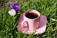 Um copo cor-de-rosa com café em uns pires na grama e em duas flores Fotografia de Stock Royalty Free