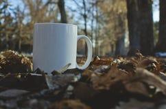 Um copo de café branco no gramado frondoso do parque imagem de stock royalty free