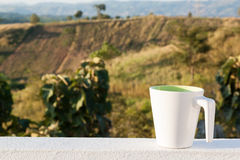 Um copo de café com Mountain View Imagens de Stock Royalty Free