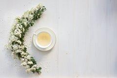 Um copo delicado do vintage rosas Configuração lisa Imagem de Stock