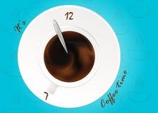 Um copo do café preto ou do chocolate Vetor realístico no teste padrão Conceito Tempo do café, relógios Fotos de Stock Royalty Free