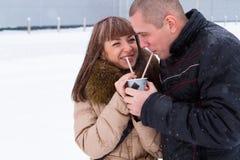 Um copo do café quente para dois Imagem de Stock Royalty Free
