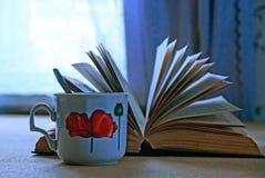 Um copo do chá e de um livro aberto Imagem de Stock