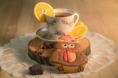 Um copo do chá quente com pão-de-espécie foto de stock royalty free