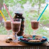 Um copo do chocolate quente com cookies Foto de Stock Royalty Free