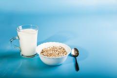 Um copo do leite morno e um serviço da farinha de aveia Produtos vidreiros no bl Fotos de Stock Royalty Free