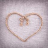 Um coração do amor feito da corda Foto de Stock Royalty Free