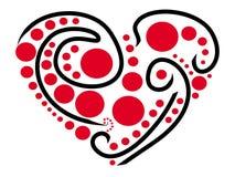 Um coração estilizado pintado com linhas pretas e os pontos vermelhos Imagens de Stock Royalty Free