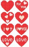 Um coração vermelho ajustado em um mosaico Foto de Stock