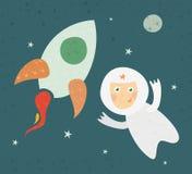 Um cosmonauta dos desenhos animados Imagem de Stock Royalty Free
