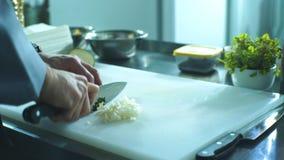 Um cozinheiro chefe profissional corta rapidamente beringelas na placa que usa uma faca video estoque