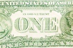 Um dólar Bill Detail Closeup White Background Currenc Foto de Stock