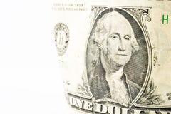 Um dólar Bill Detail Closeup White Background Currenc Fotografia de Stock Royalty Free