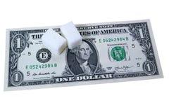 Um dólar e duas partes de açúcar Fotos de Stock Royalty Free