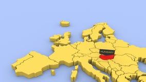 Um 3D rendeu o mapa de Europa, focalizado em Hungria video estoque