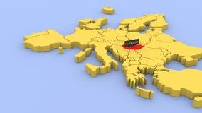 Um 3D rendeu o mapa de Europa, focalizado em Hungria filme