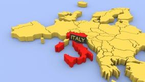 Um 3D rendeu o mapa de Europa, focalizado em Itália filme