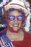 Um delegado entusiástico veste a peça na convenção 1996 nacional republicana em San Diego, Califórnia Fotografia de Stock