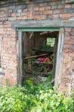 Um derelict idoso, quadro de porta verde rotted contra uma parede de tijolo vermelho, com plantas cobertos de vegetação imagens de stock royalty free