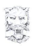 Um desenho do leão, esboço da escultura, desenho original no papel Fotografia de Stock Royalty Free