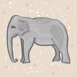 Um desenho estilizado do vintage de um elefante com fundo manchado Fotos de Stock Royalty Free