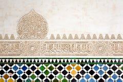 Um detalhe na corte das murtas, Alhambra Palace, Granada, imagem de stock
