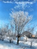 Um dia claro do inverno, uma paisagem rural com uma tampa rústica do jardim imagens de stock royalty free