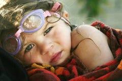 Um dia de nadar com menina. Imagens de Stock