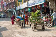 Um dia ensolarado nas ruas estreitas de Kathmandu o 25 de março de 2018 Fotografia de Stock Royalty Free