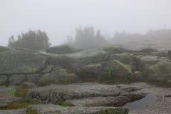 Um dia nevoento nas montanhas Fotografia de Stock