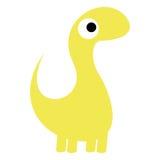 Um dinossauro bonito do amarelo dos desenhos animados do vetor isolado Ilustração Stock