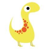 Um dinossauro bonito do amarelo dos desenhos animados do vetor isolado Ilustração do Vetor