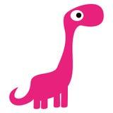 Um dinossauro bonito do rosa dos desenhos animados do vetor isolado ilustração do vetor