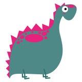 Um dinossauro bonito do rosa dos desenhos animados do vetor isolado Ilustração Royalty Free