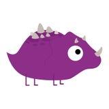 Um dinossauro roxo dos desenhos animados bonitos do vetor isolado Ilustração Royalty Free